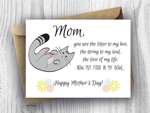 graphic regarding Funny Printable Mothers Day Cards named Moms Working day Card Floral, Printable Humorous Moms Working day Cat