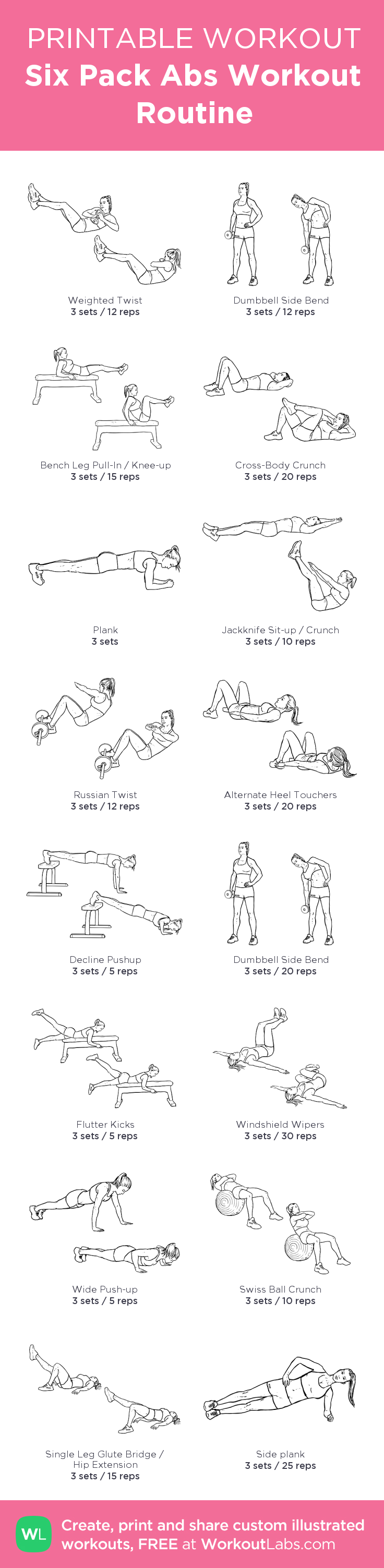 Six Pack Abs Workout Routine My Custom Printable By WorkoutLabs Workoutlabs