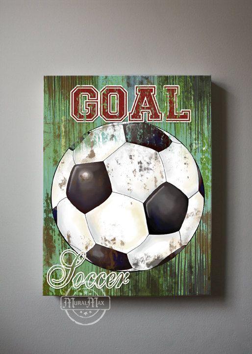 vintage soccer ball on wood half view photo print, boys room decor