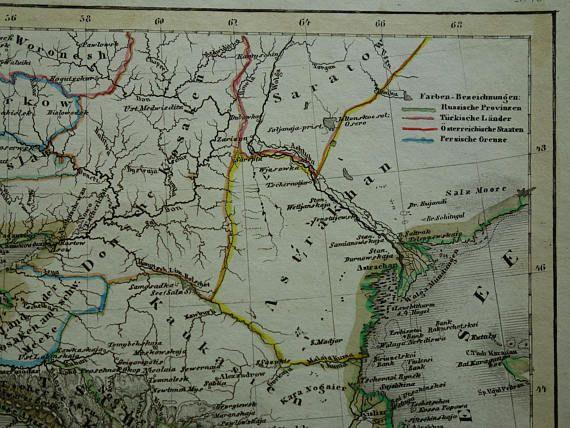 black sea map 1850 original old hand colored antique print of