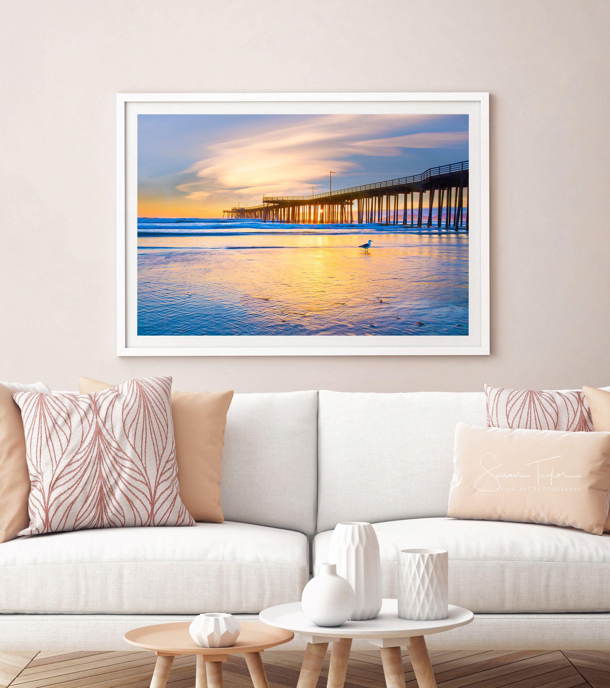 beach office decor. beach photography oversized ocean canvas large decor coastal sunset print office