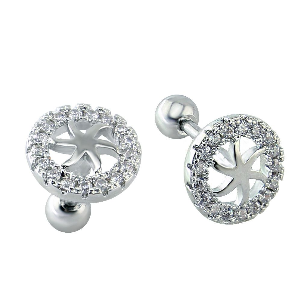 Six schmuck piercing  Modern Trendy Round Six Pointed Flower Shaped Earrings Cartilage ...