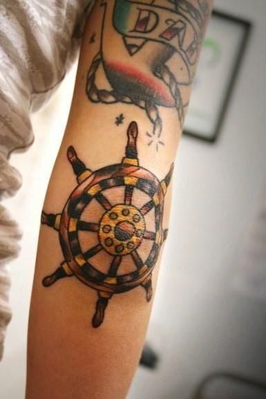 ships wheel just below elbow tattoo shiphelm ink love. Black Bedroom Furniture Sets. Home Design Ideas