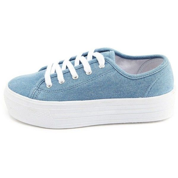 Chambray Lace-Up Platform Sneaker ($23) ❤ liked on Polyvore