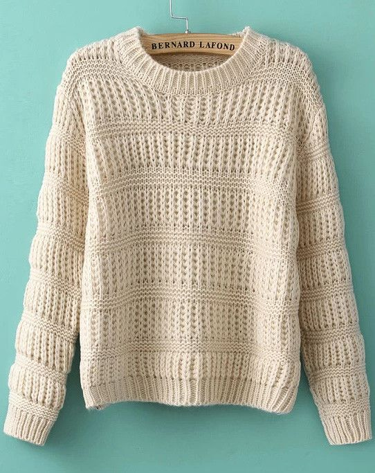 Apricot Long Sleeve Striped Knit Sweater