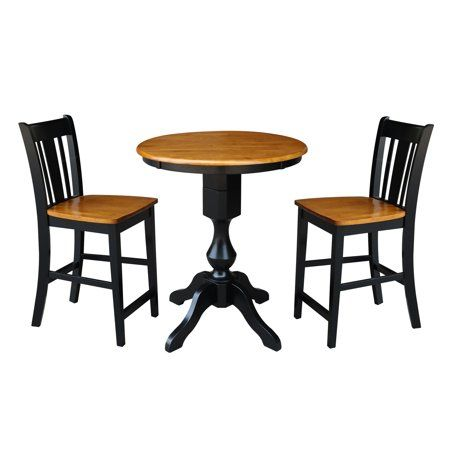 30 Inch Round Pedestal Counter Height Table With 2 San Remo Stools 3 Piece Set Black Cherry Red