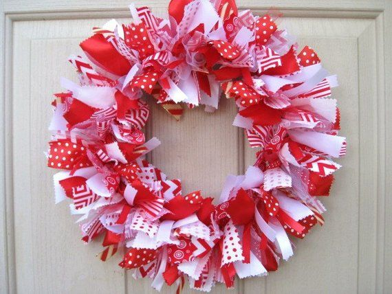 Christmas Wreath, Red White Christmas Wreaths, Christmas Ribbon
