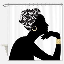African American Woman Shower Curtain For