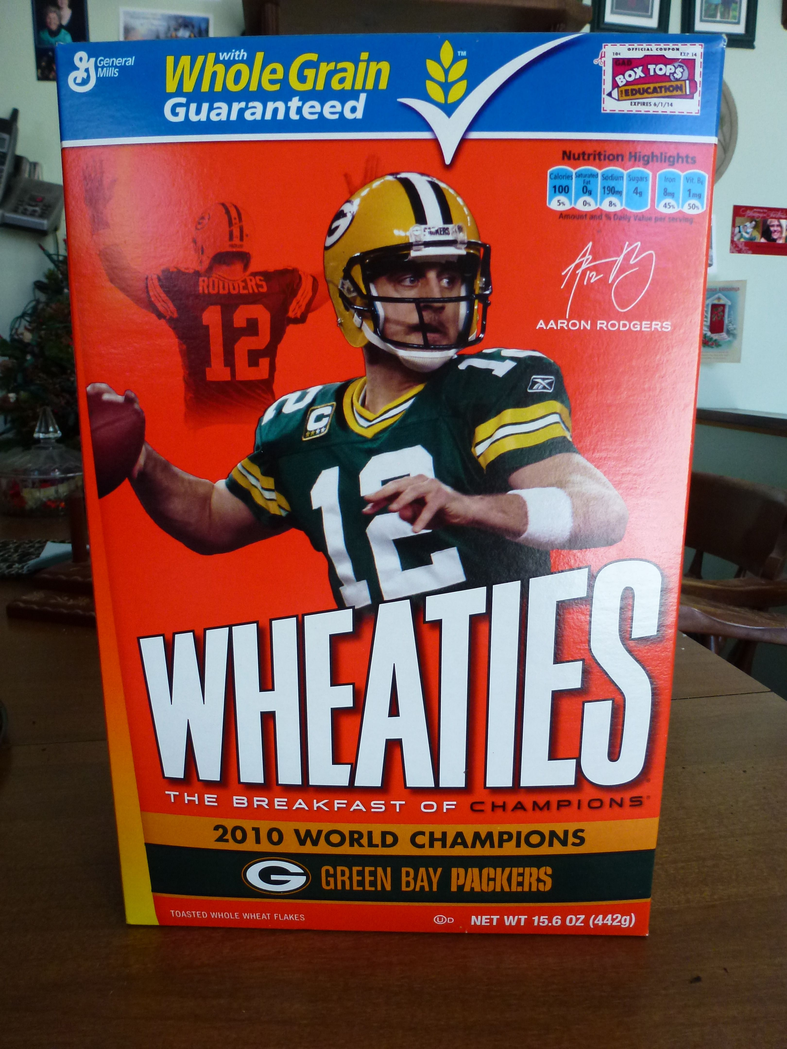 Aaron Rodgers On The Wheaties Cereal Box Green Bay Packers Aaron Rodgers Green Bay