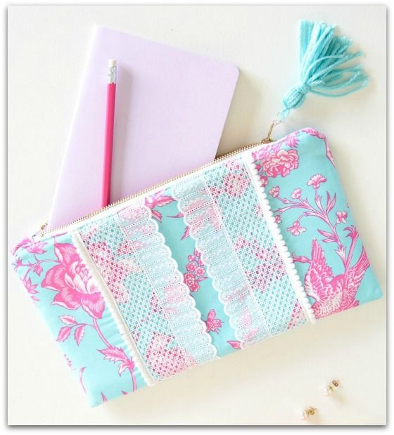 How to Sew a Sweet Zippered Clutch Purse with Pom-Poms and Lace