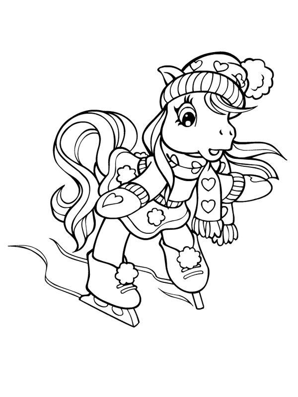 Petit poney à la patinoire | Coloriages Pets | Pinterest | Dibujos ...