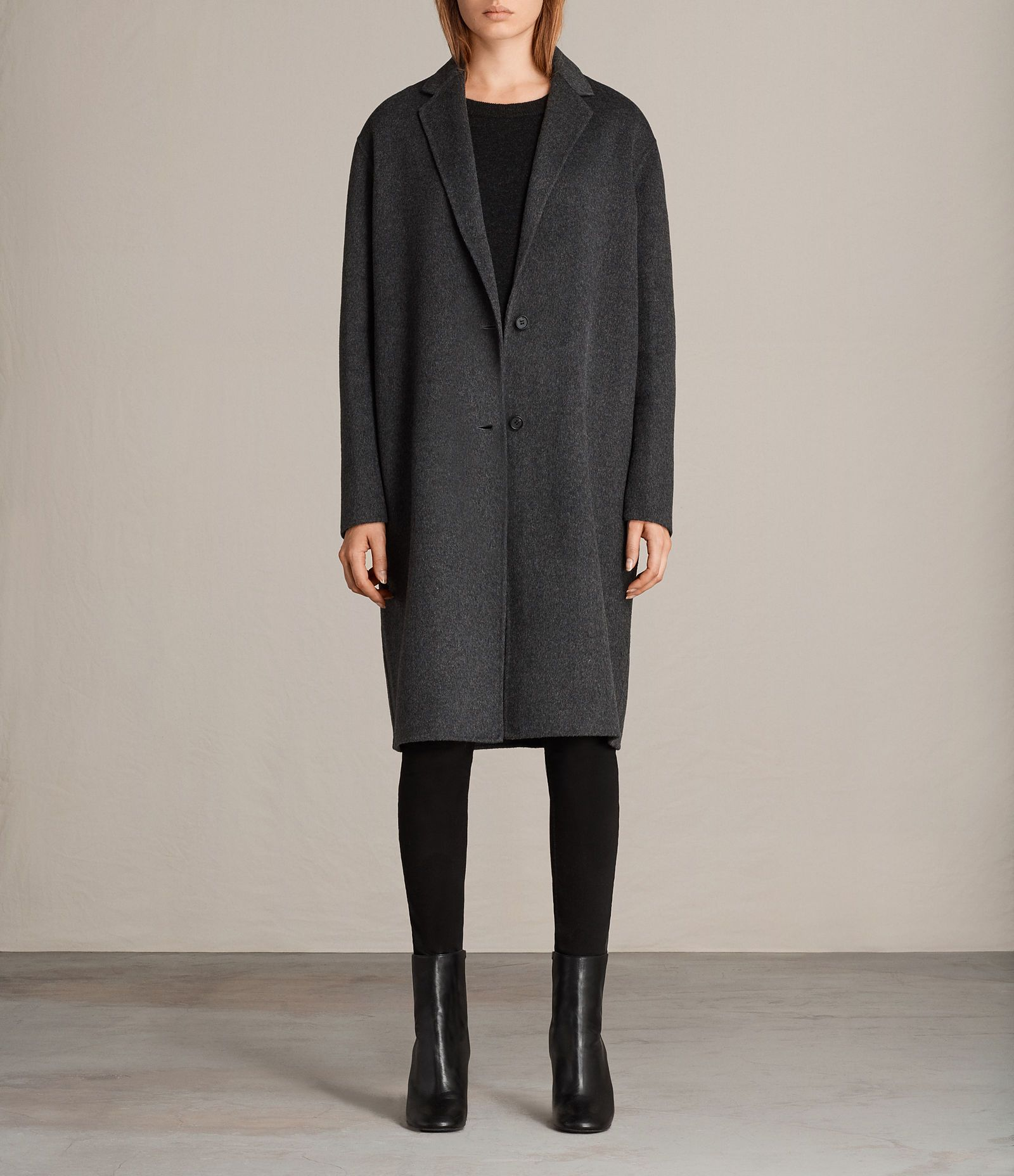 bce9eecd6052 ALLSAINTS US  Womens Anya Coat (Charcoal Grey)