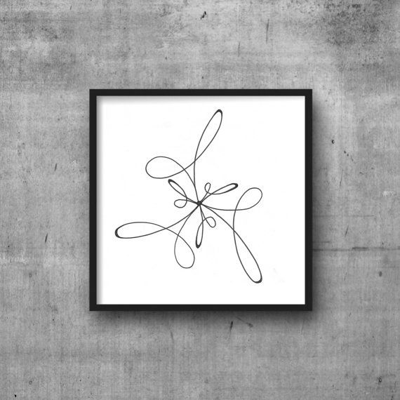 Flower outline illustration fine art minimalist print simple print black and white