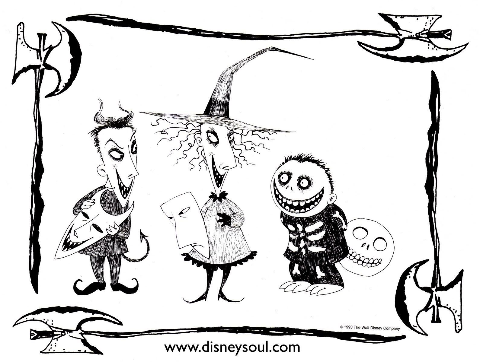 Lock Shock And Barrel Coloring Pages Art Nightmare Before