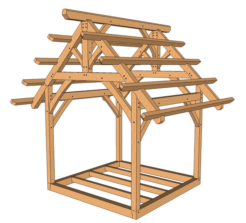 10x10 King Post Truss Plan Timber Frame Hq Timber Frame Plans Timber Frame Pavilion Timber Frame Construction