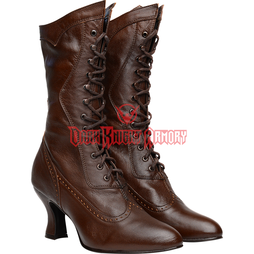Oak Tree Farms Elizabeth Old West Granny Vintage Style Brown Boot Leather 6-11