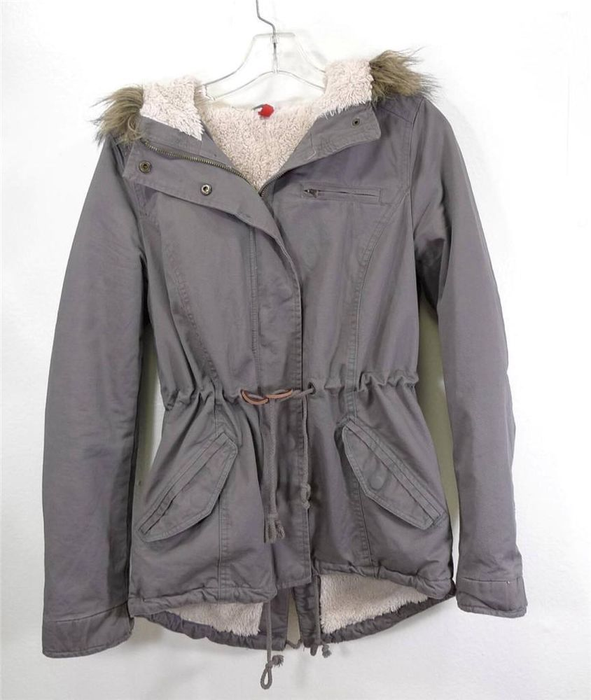 WOMEN H&M DIVIDED parka coat jacket faux fur hood lining size 6 ...