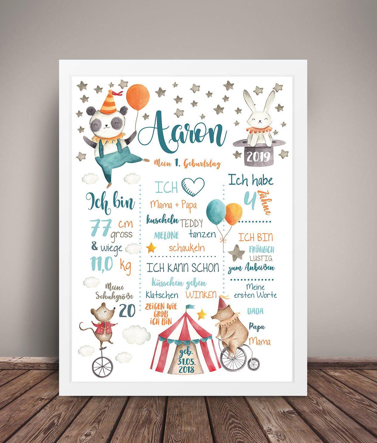 Meilensteintafel 1 Geburtstag Zirkus Chalkboard