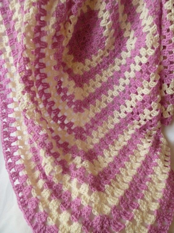 hand crochet granny square in pink&cream this soft granny square ...