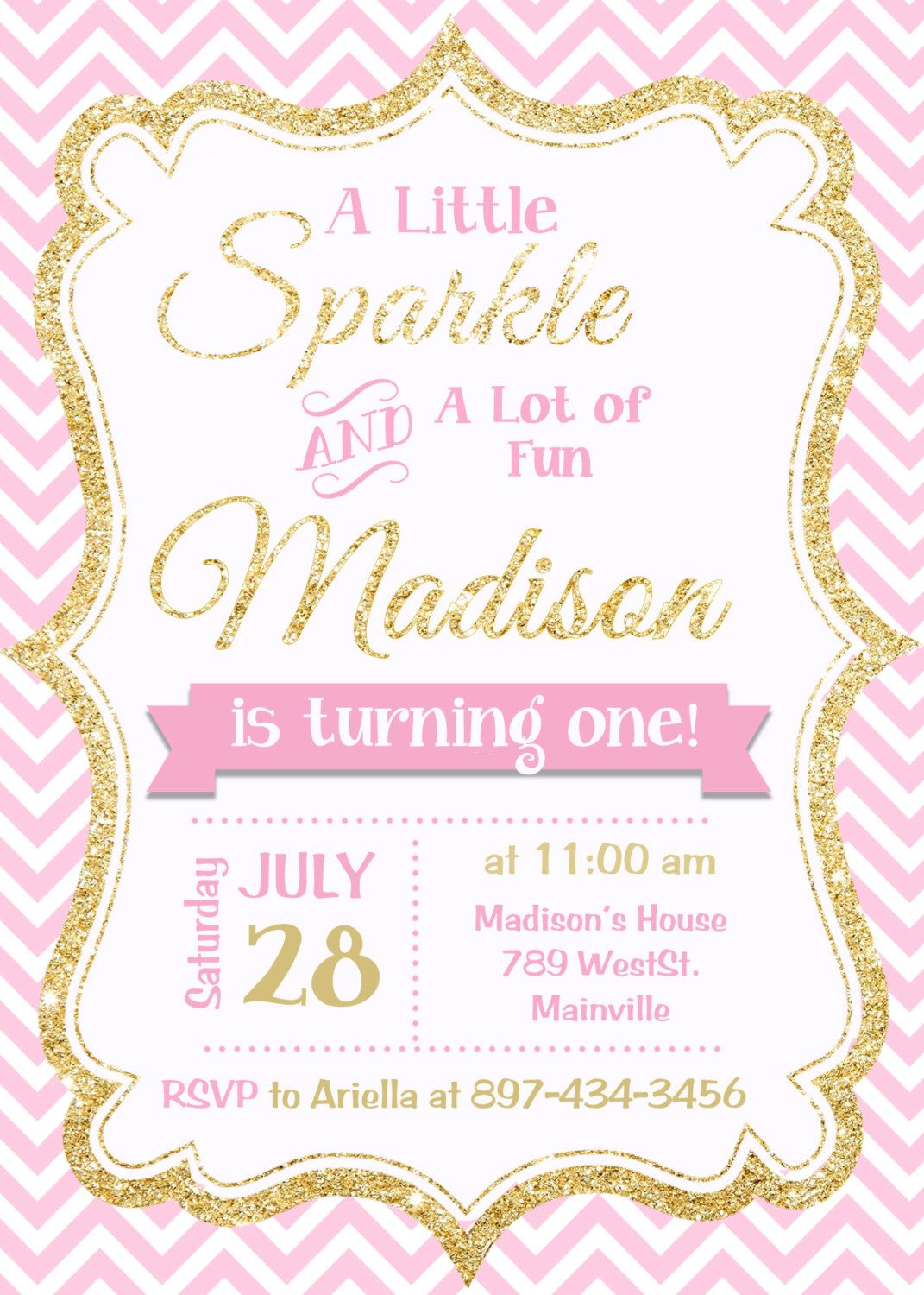 Super Pink and Gold invitation, Gold Glitter Invitation, 1st Birthday  VA43