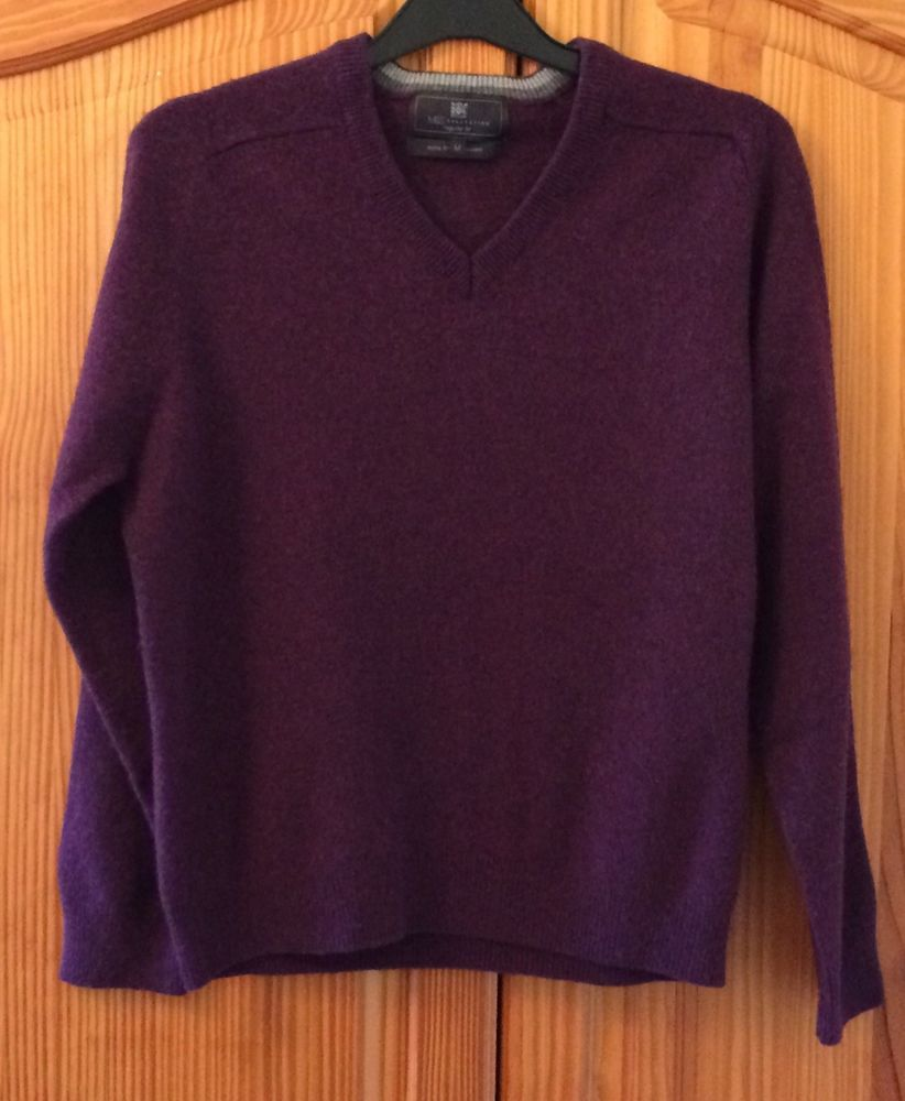 0b1f65d5bce M&S Collection Plum Purple Jumper Lambswool V-Neck Autumn Winter ...