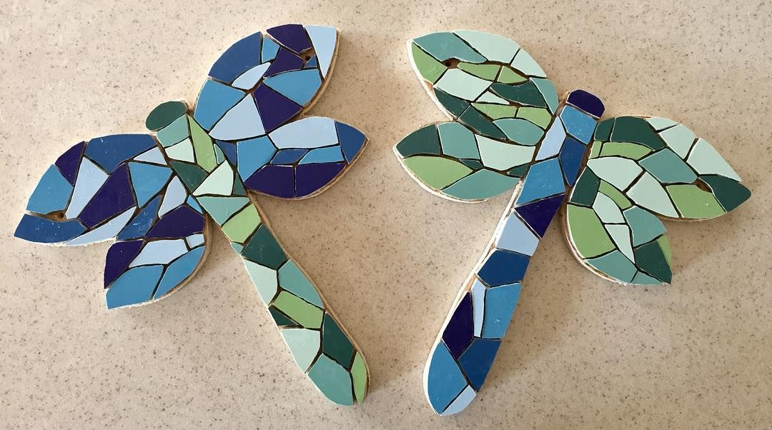 #mosaic #dragonflies ready for grouting  #insects #blues #greens #exteriorart #garden #patio. #art #bespoke #commission