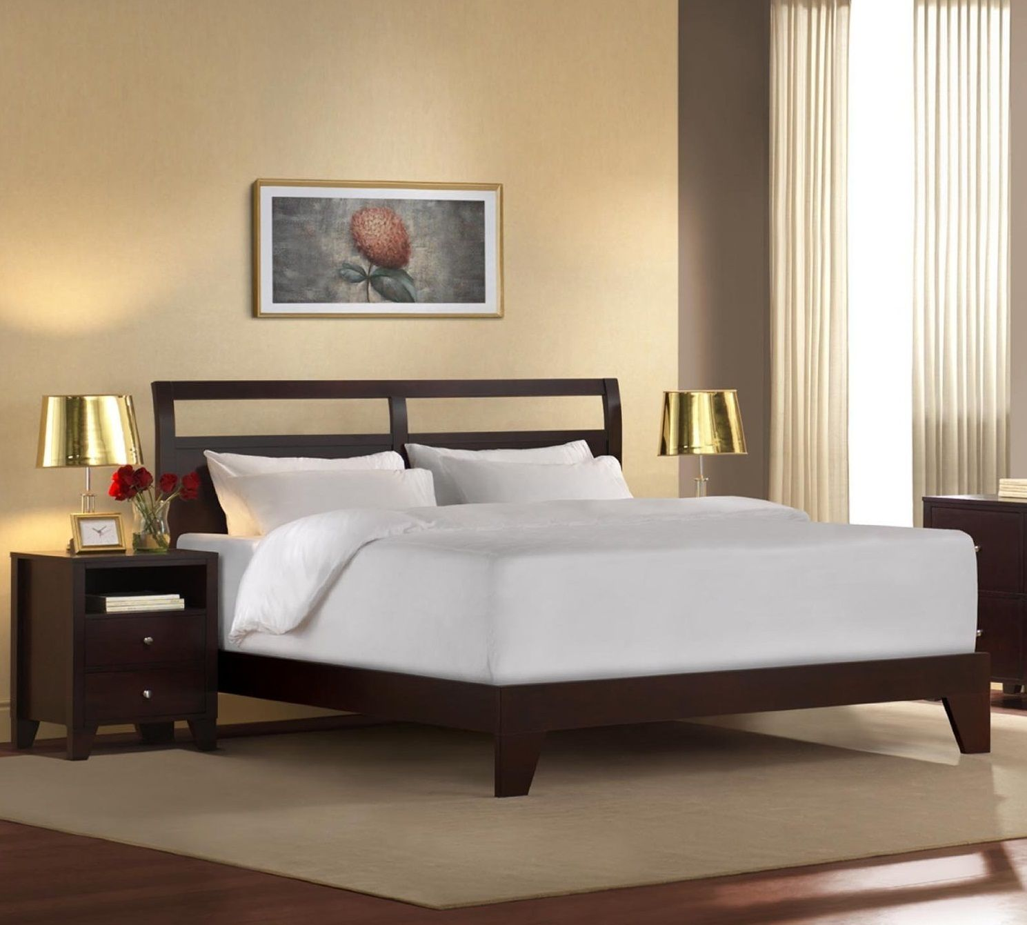 Modern Bed Frames Design Ideas With Dark Brown Color Wooden And