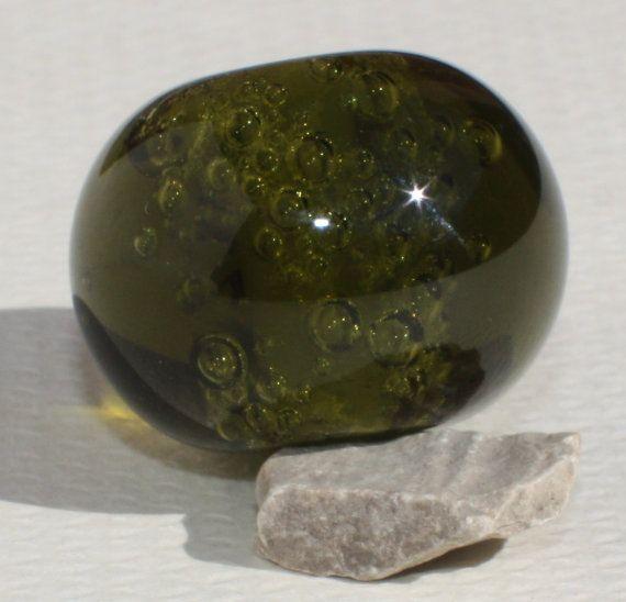 Large Lampwork Glass Bead  Green Olive  от GlassNatalyaDarlin