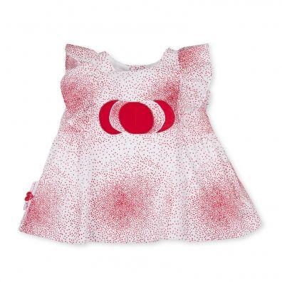 Vestido manga corta voile estampado puntos rojo y plata sobre fondo blanco. Bordado de círculos en la parte delantera abrochado en espalda. Etiqueta con icono marca en el lateral