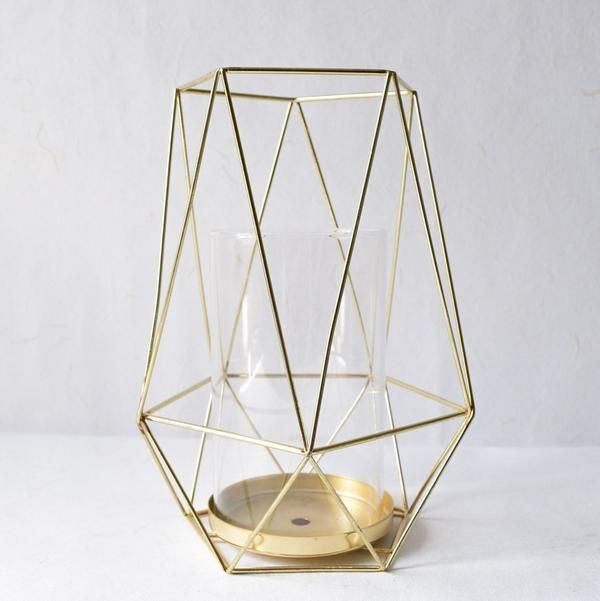 geometric gold candle holder large - Gold Candle Holders