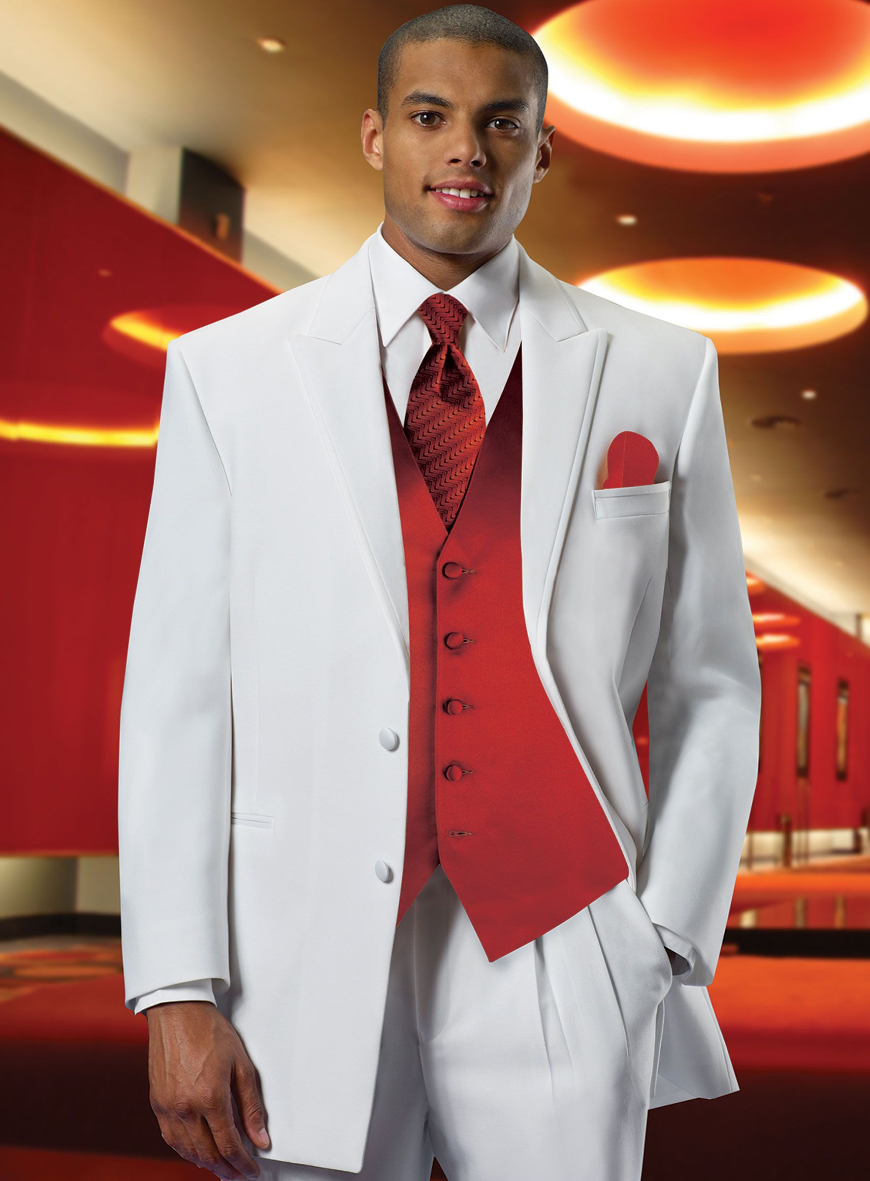 White Tuxedo with Red Vest | Red and White Wedding Theme | Pinterest ...