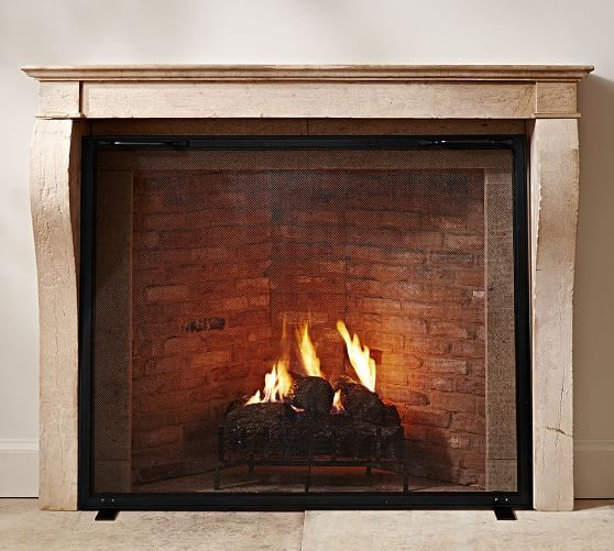 Industrial Fireplace Single Screen Industrial Fireplaces Fireplace Screens Fireplace Screens With Doors