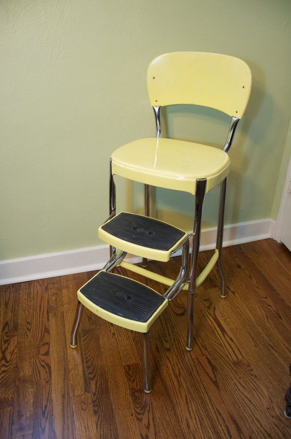 1950s Atomic Kitchen Vintage Costco Stylaire Step Stool Chair Yellow Chrome Retro Kitchen Vintage Kitchen Kitchen Step Stool