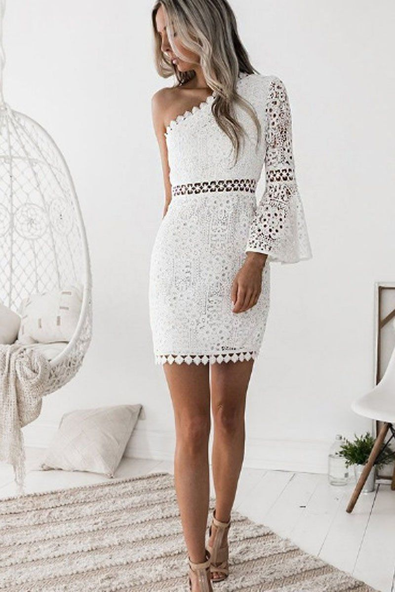 0d3984e3f7c6 Off The Shoulder Bodycon Lace Dress in 2019   COUTURE   One sleeve ...