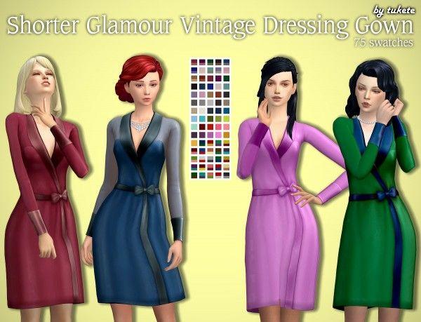Tukete Shorter Vintage Glamour Dressing Gown Sims 4 Downloads Sims 4 Vintage Glamour Sims 4 Clothing Sims 4