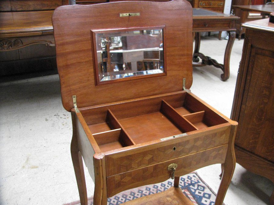 Gorgeous French Louis Xv Style Poudreuse Vanity Table With A Lovely Parquetry Top And Small Draw Lift Up Lid With Storage Compartments Inside In Fantastic Ori