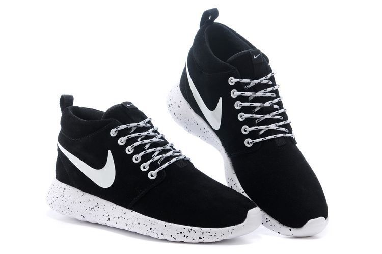 Cheap Nike Women Men Shoes  Hot Style Nike Roshe Run High Suede Black White  Cheap Store