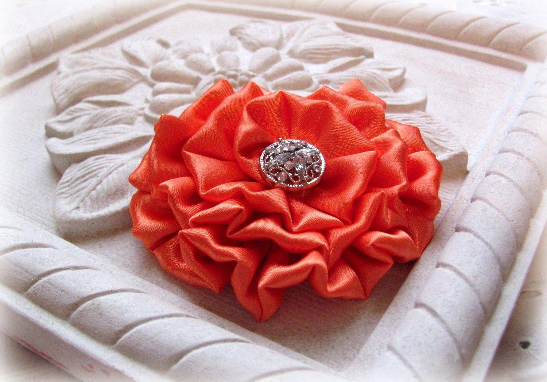 Citrus Orange Rosette Pin/Hair Clip