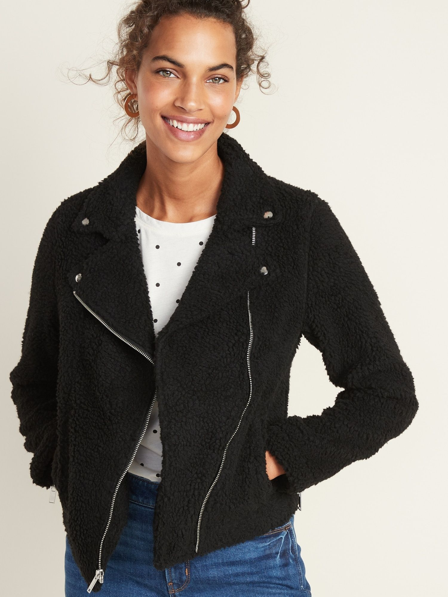 Sherpa Moto Jacket for Women Old Navy (With images