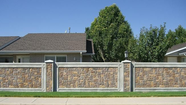 concrete fence - Brick Wall Fence Designs