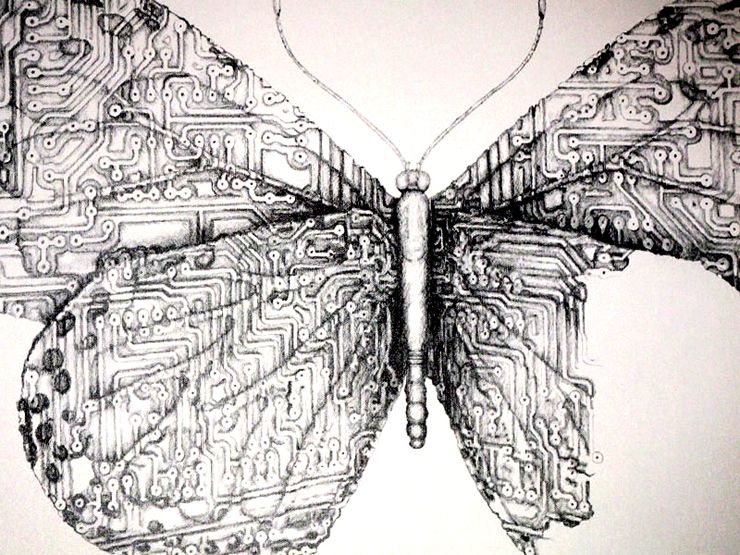 butterfly circuit board drawing by Parisian street artist LUDO 2011 ...