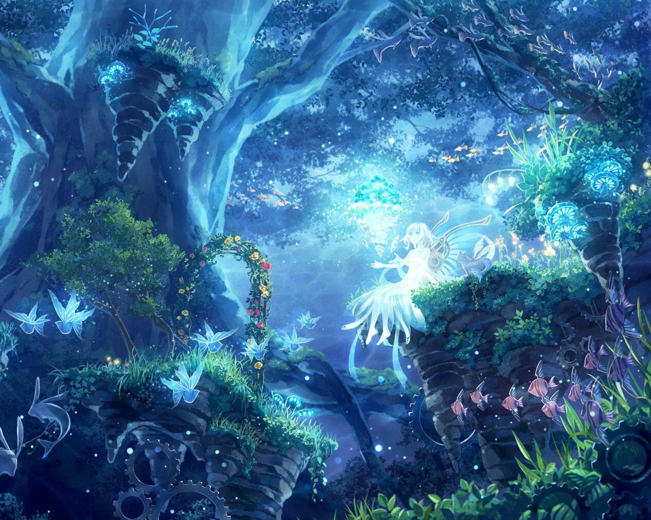 1of My Fav Colors Is Pretty Shades Of Blues That Glow In The Night So I Love This With All The Hidden Flyin Anime Scenery Fantasy Forest Fantasy Landscape