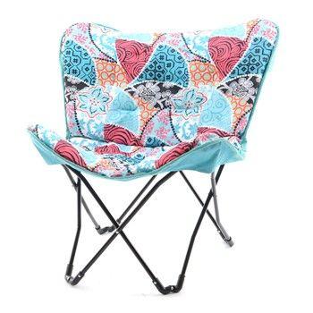 chaise papillon en polyester avec coussin 84x74cm H87cm