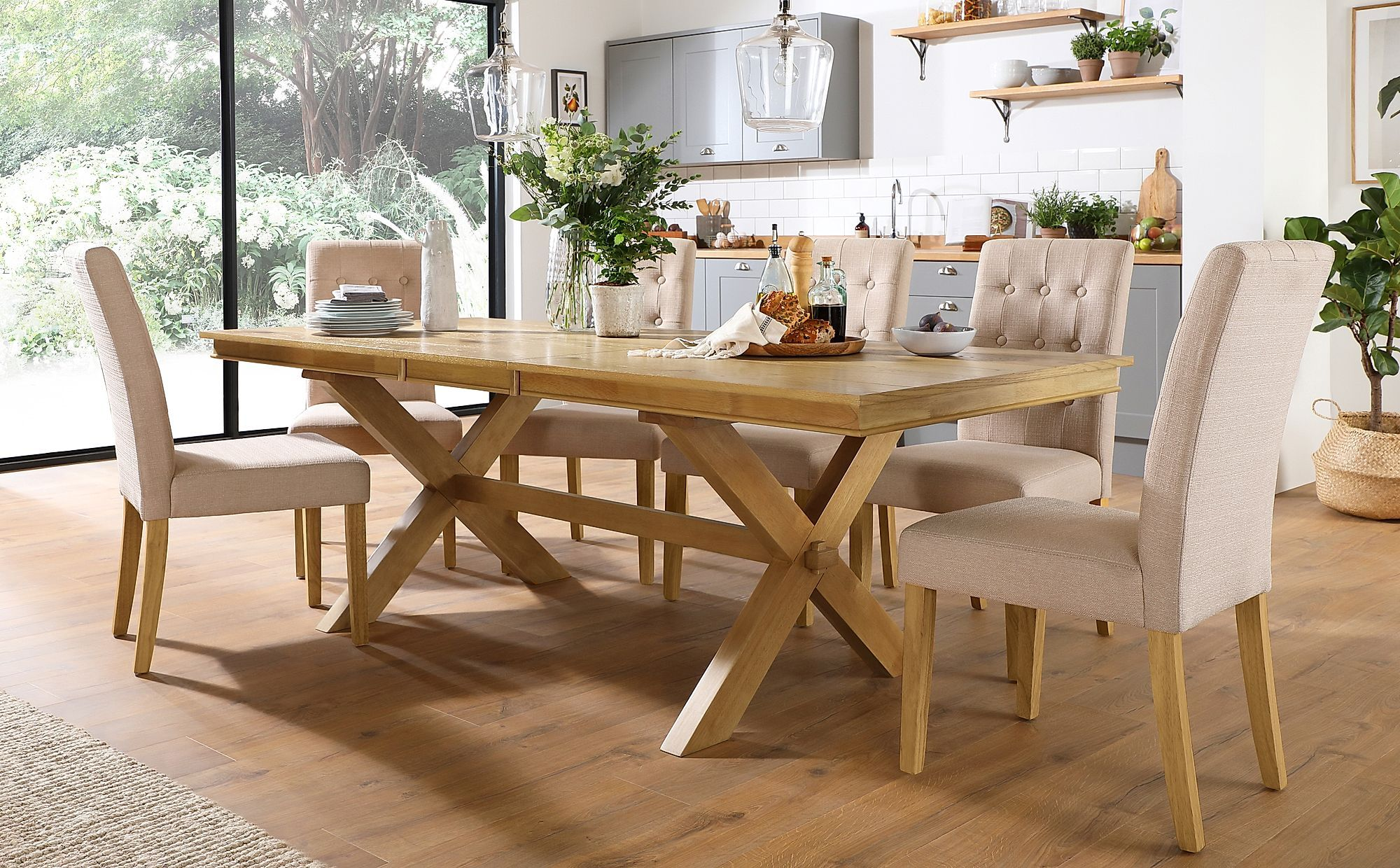 Grange Oak Extending Dining Table With 8 Regent Oatmeal Fabric