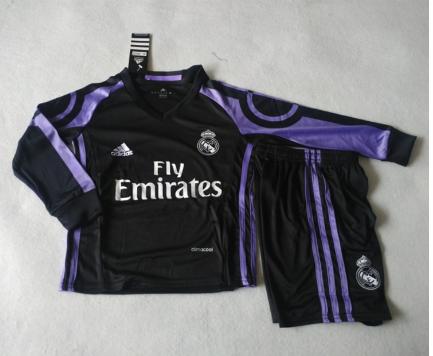 2016 2017 Real Madrid Football Shirt Long Sleeves Black Purple For Kids Long Sleeve Shirts Football Shirts Athletic Jacket