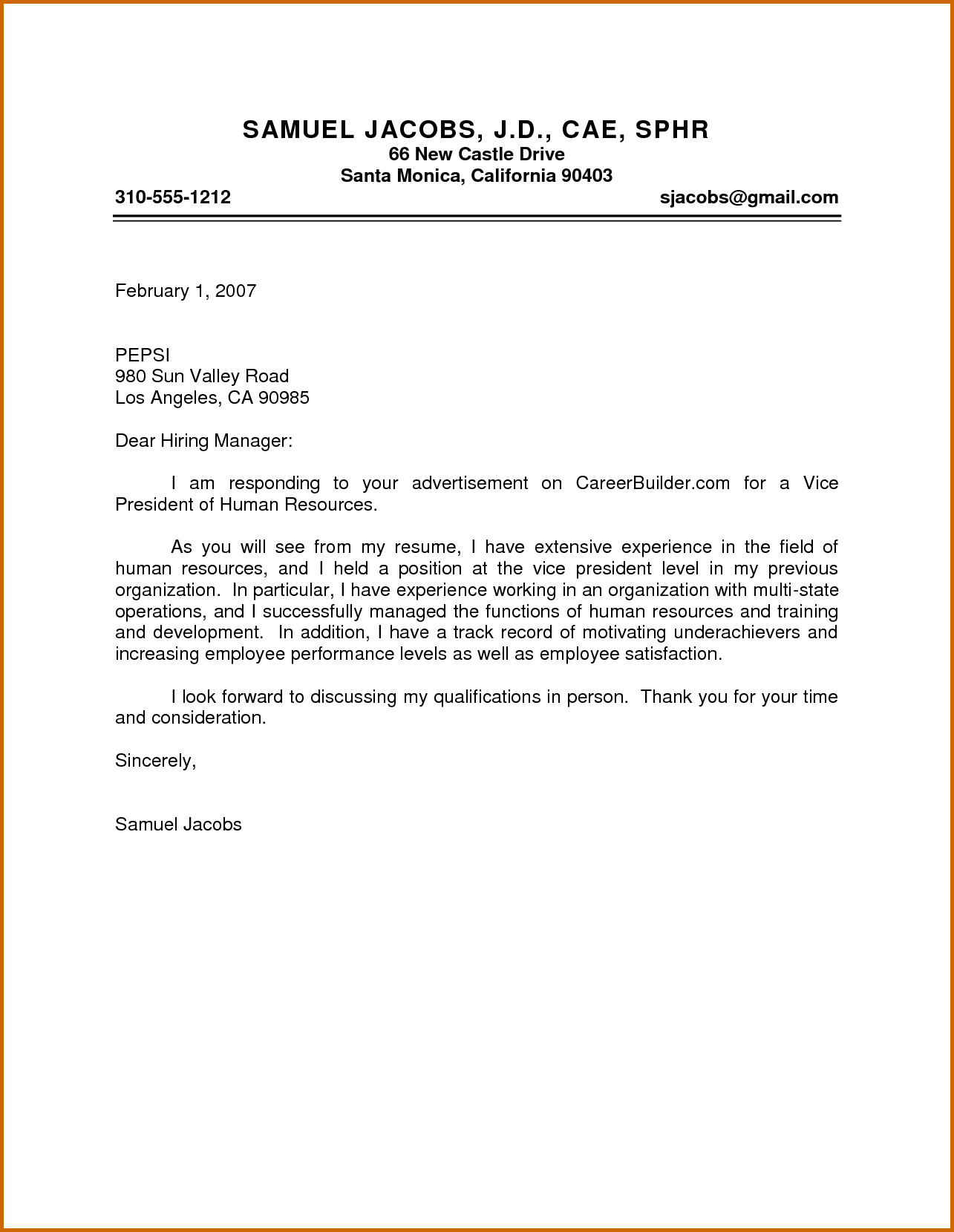 Cover Letter For Hr Generalist Marketing Cover Letter Example Is
