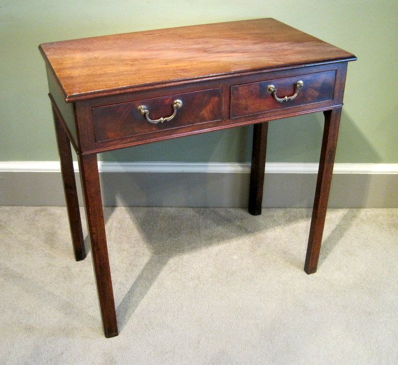 Good Chippendale Mahogany Side Table A Fine Chippendale Period Mahogany Two  Drawer Side Table, With