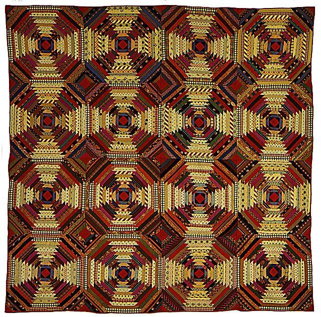 Quilt Log Cabin Pattern Pineapple Variation 1870 1880 Fabic