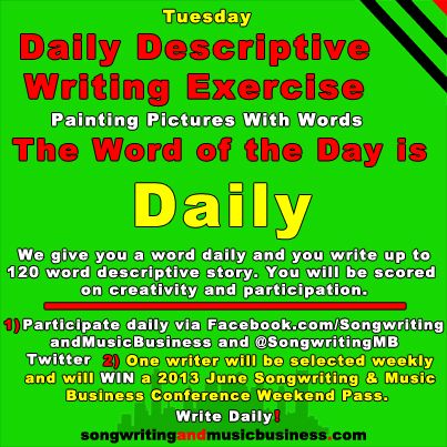 Pin By Songwriting And Music Business On Daily Descriptive Writing  Writing Exercises Painting Pictures Writer Conference Tuesday June  Drawing Pictures Sign Writer Writers