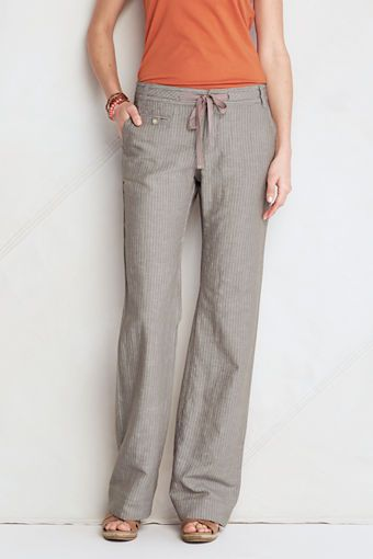 63e250c79e Womens Linen Cotton Pattern Wide Leg Pants from Lands End | Style ...